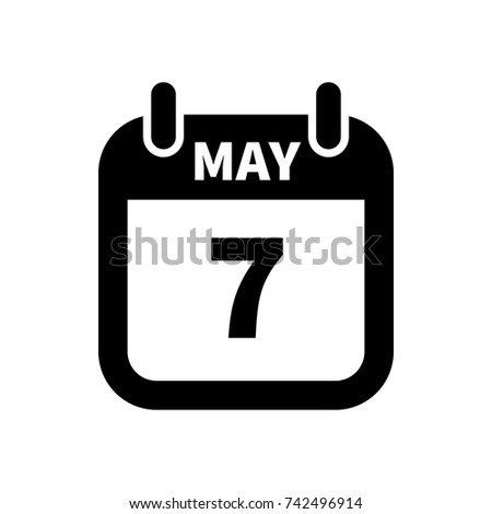 Simple black calendar icon with 7 may date isolated on white Stock photo © evgeny89