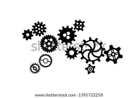 Black different silhouettes of cogwheels, steampunk mechanism isolated on white Stock photo © evgeny89