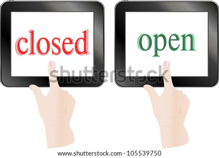 Hands Finger Touch Screen Tablet Pc With Open Closed Theme Stock fotó © fotoscool