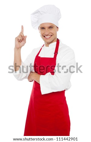 молодые Smart повар указывая указательный палец Сток-фото © stockyimages