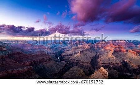 Grand · Canyon · ponto · pôr · do · sol · luz · montanha · laranja - foto stock © meinzahn