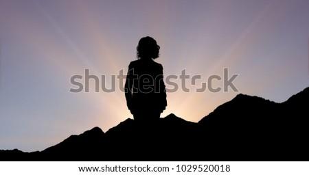 силуэта исполнительного Постоянный горные закат цифровой композитный Сток-фото © wavebreak_media