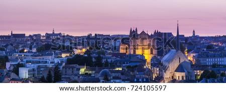 Panoráma naplemente épület kék napfelkelte sziluett Stock fotó © benkrut