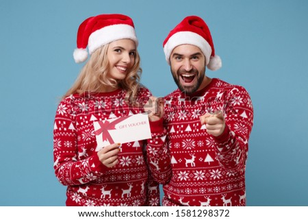 Christmas card design with people wearing party hats Stock photo © colematt