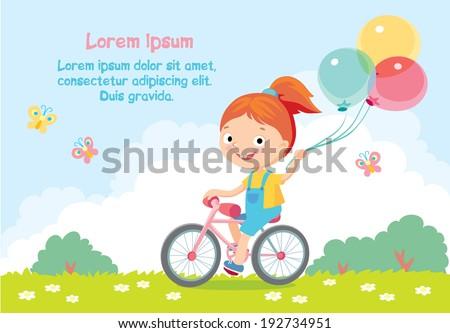 Cute girl play the ball , Summer holiday poster Stock photo © balasoiu