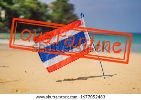 Waving Thailand flag in the sunny blue sky with summer beach background. Vacation theme, holiday con Stock photo © galitskaya