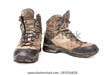 old and used hiking shoes stock photo © hofmeester