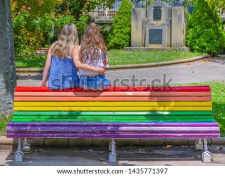 Pár park boldog természet kert portré Stock fotó © photography33