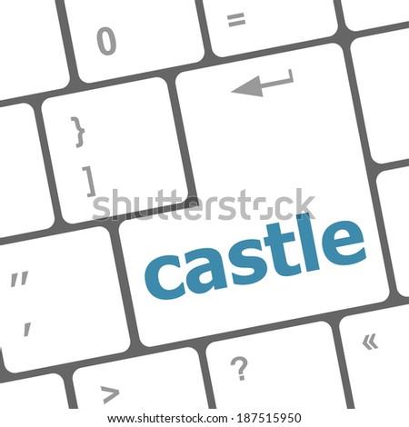 Modern Computer Keyboards Enter Keys With Castle Word Сток-фото © fotoscool