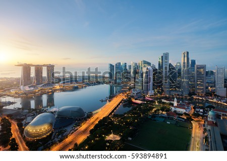 シンガポール スカイライン ビジネス 建物 都市 黒 ストックフォト © compuinfoto