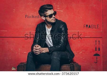 модный молодым человеком кожа одежды человека город Сток-фото © zurijeta