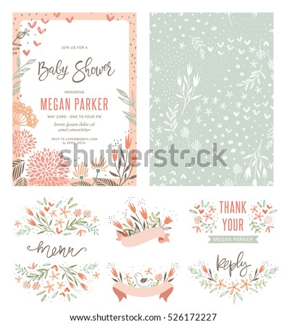 Baby Shower Elements Pattern Stock photo © netkov1
