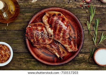 Alla griglia carne di maiale peperoni carne alla griglia aglio Foto d'archivio © Peteer