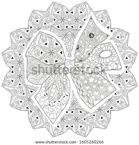 Zentangle stylized bow-knot on a patterned round substrate Stock photo © Natalia_1947