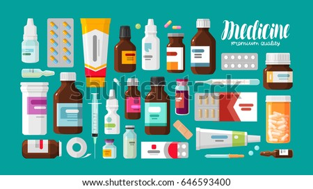 vector set of medicine bottle Stock photo © olllikeballoon