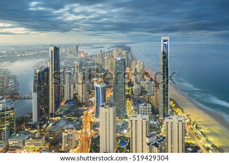 Stok fotoğraf: Skyscrapers On Gold Coast During The Night