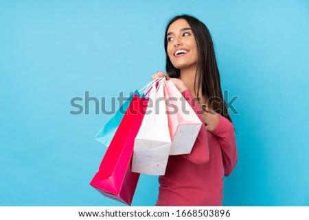 クール 幸せ 買い物客 肖像 小さな ブルネット ストックフォト © lithian