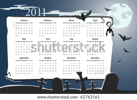 Vector Halloween calendrier 2011 avec cimetière Photo stock © Elisanth