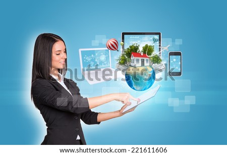 women using digital tablet earth and hexagons with icons stock photo © cherezoff