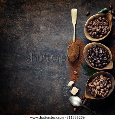 Stok fotoğraf: Kahve · çekirdekleri · öğütücü · fransız · organik · sığ · alan
