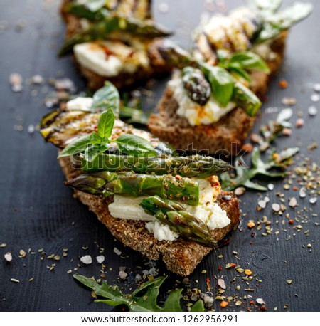 Sandwich with grilled asparagus Stock photo © Alex9500