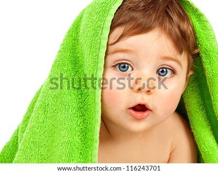cute · bebé · nino · cubierto · toalla · aislado - foto stock © lopolo