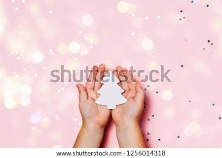 Mains vacances décoration glitter faible étoiles Photo stock © artjazz