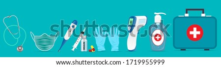COVID-19 Hand sanitizer cleaning hands with alcohol disinfecting gel bottle man using dispenser for  Stock photo © Maridav