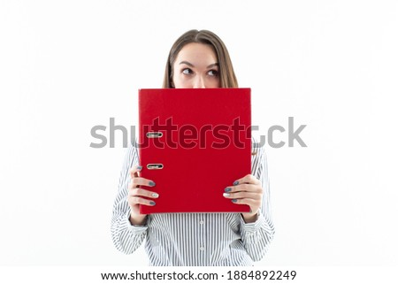Woman covering her face with folder Stock photo © photography33