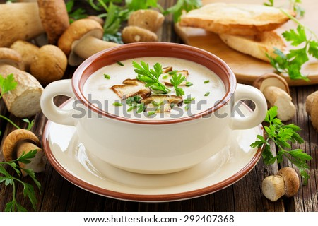 vegetarian mushroom soup with vegetables and bread in white plat stock photo © vlad_star