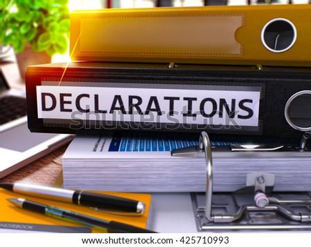 Declarations on Black Ring Binder. Blurred, Toned Image. Stock photo © tashatuvango