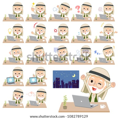 Arab Kandura wearing old men_desk work Stock photo © toyotoyo