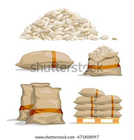 White bags with corn at heap of crop Stock photo © simazoran