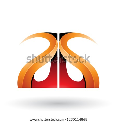 Red and Orange Glossy Curvy Embossed Letter A Vector Illustratio Stock photo © cidepix