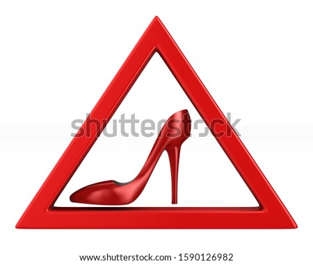red women shoe into triangle on white background. Isolated 3d il Stock photo © ISerg