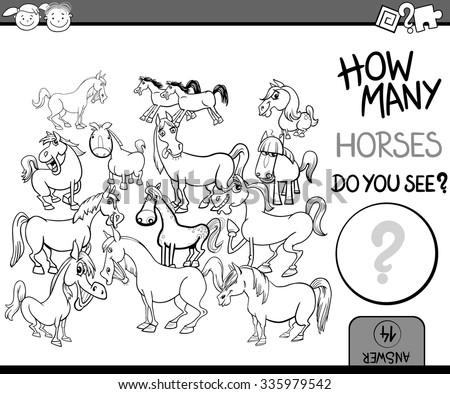 how many farm animals counting task color book page Stock photo © izakowski