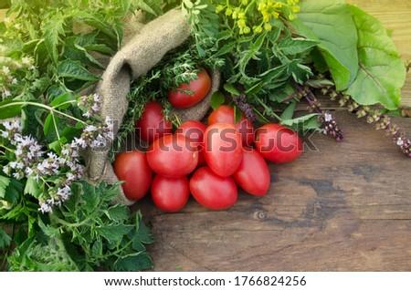 cherry tomato on wooden background Stock photo © M-studio