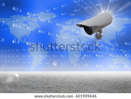 Foto stock: Imagen · cámara · de · seguridad · blanco · azul · mapa