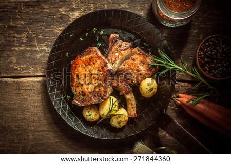 cerdo · lomo · alimentos · cena · hortalizas · filete - foto stock © digifoodstock