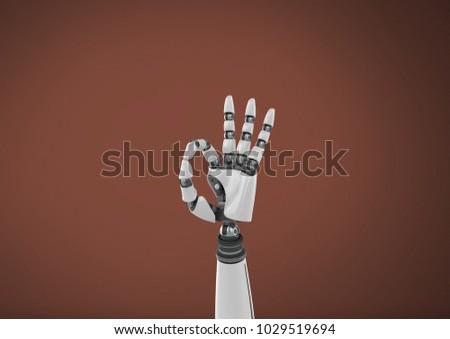 Stock fotó: Android · robot · kézmozdulat · ok · barna · digitális · kompozit