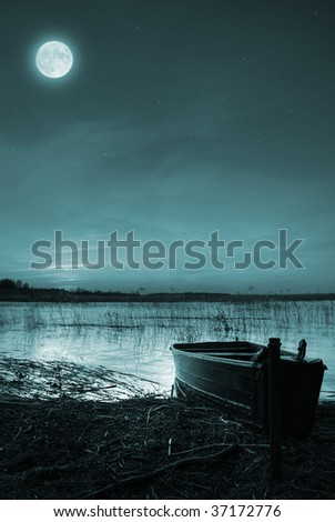 Scene with fullmoon over lake Stock photo © bluering