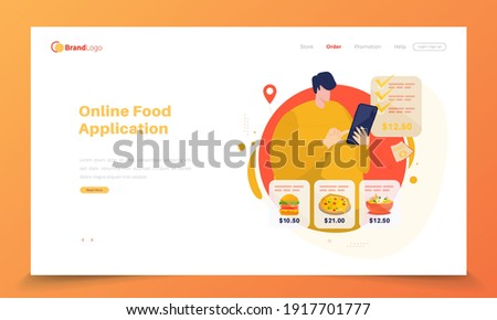 Burger and Pizza Take Away Fast Food Landing Page Stock photo © robuart