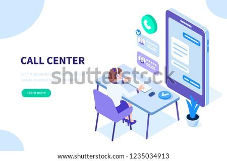 Izometrikus online ügyfélszolgálat mobil ügyfélszolgálat férfi Stock fotó © -TAlex-