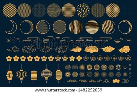 золото · Японский · стиль · облаке · набор · иллюстрация - Сток-фото © Blue_daemon