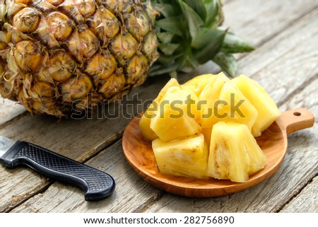 Stock photo: Sliced ripe pineapple on plate