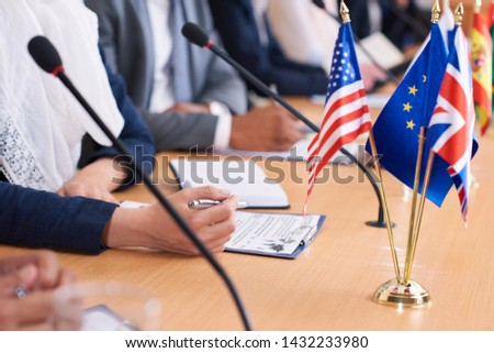 Hand of young contemporary muslim female delegate Stock photo © pressmaster