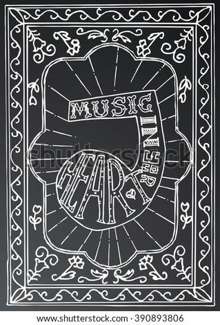 Música coração projeto nota tipografia Foto stock © ShustrikS