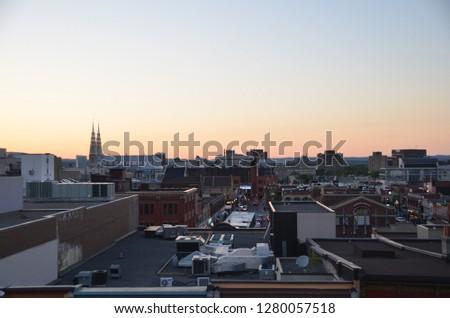 Cidade centro da cidade pôr do sol negócio edifício abstrato Foto stock © kawing921