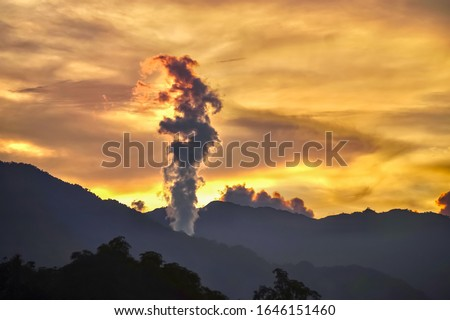 Geothermal landscape with steam columns Stock photo © Hofmeester