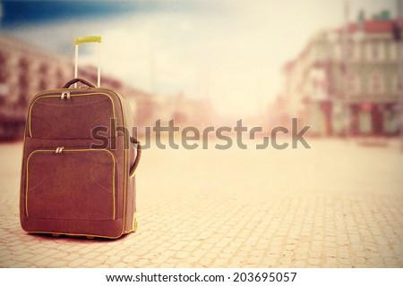 Vintage · кожа · чемодан · пляж · ходьбе · Stick - Сток-фото © compuinfoto